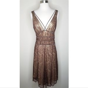BCBGMaxazria bronze beaded metallic lace dress
